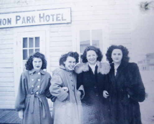 Residents in front of the Zenon Park Hotel