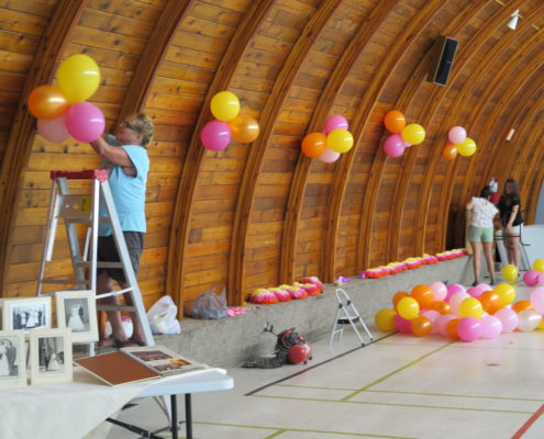 Getting Zenon Park's Community Hall ready for a special event