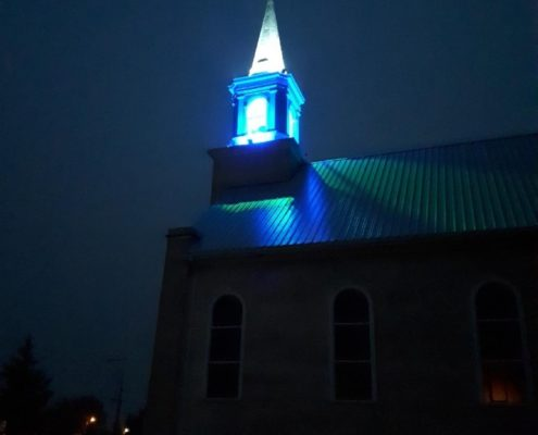 Lightshow at Zenon Park's newly renovated Our Lady of the Nativity Church