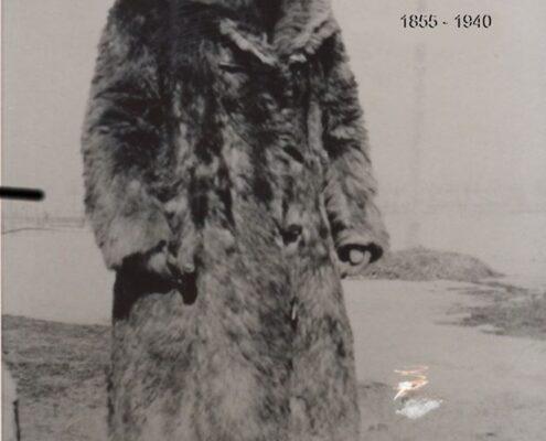 Joseph Lalonde wearing his buffalo coat
