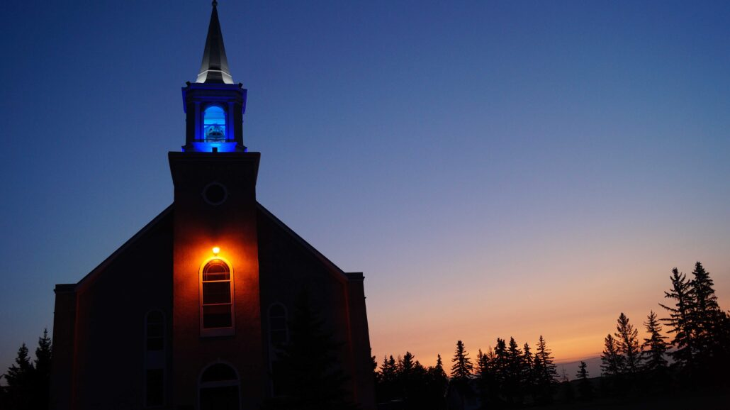 Evening lightshow at Zenon Park church