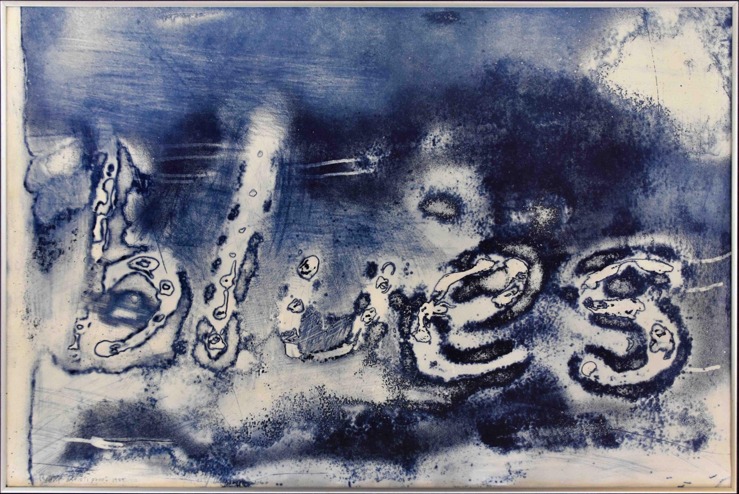 1975 blues-intaglio on rag paper 24x36in by Raymond Potié