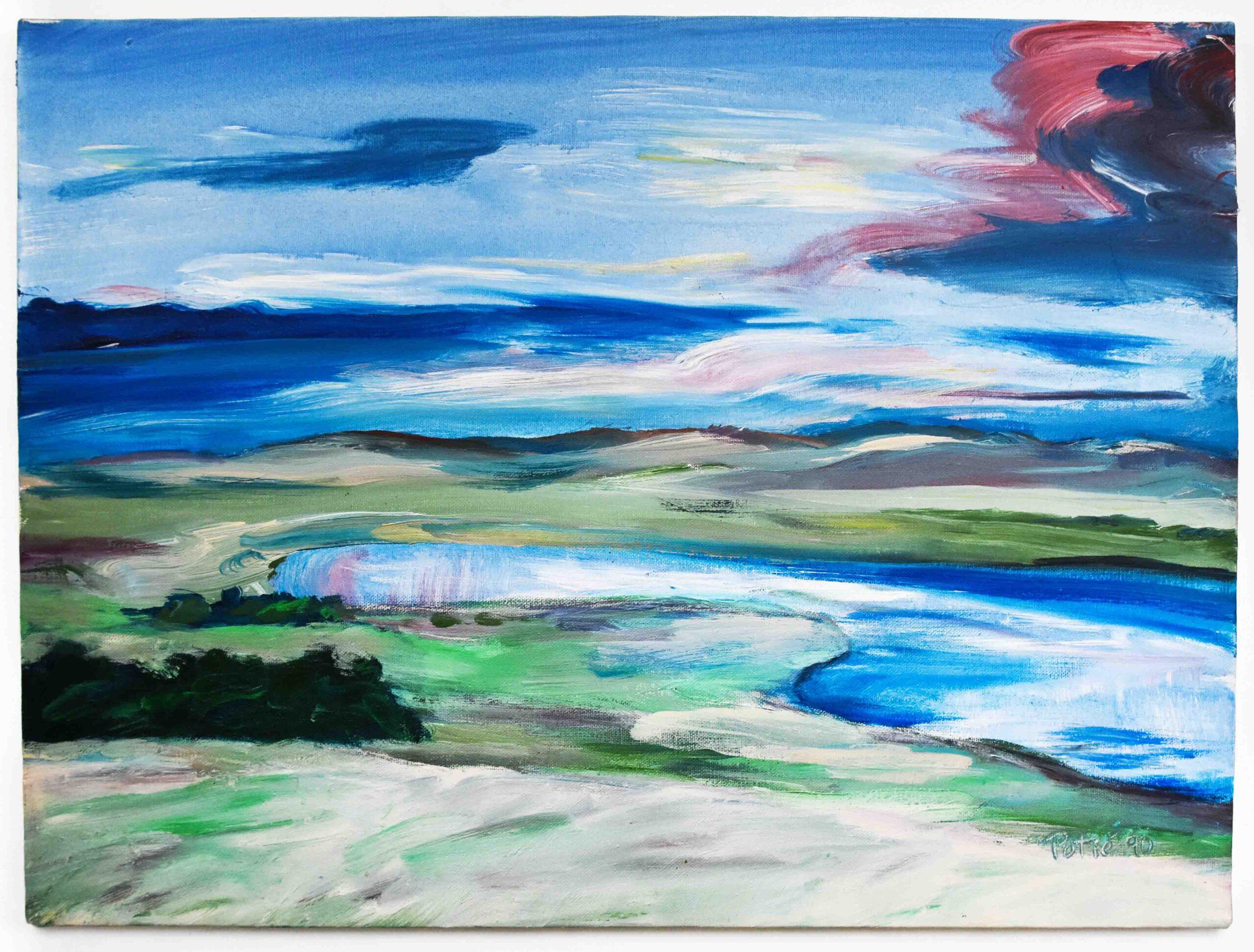1990 antelope lake acrylic on canvas 15x18 by Raymond Potié